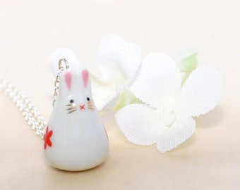 White Red Kawaii Rabbit Pendant Necklace Red Flower Ruby - Bunny Pendant - Kawaii Rabbit - Bunny Rabbit Necklace