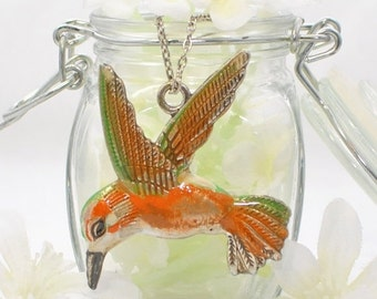 Hummingbird Necklace White Bellied Woodstar Hummingbird - Hummingbird Pendant - Bird Jewelry
