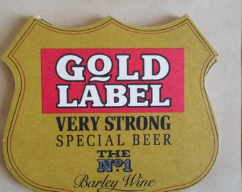 Vintage Gold Label Very Strong Special Beer Cardboard Coaster,  Brew Collector Mats, UK drink mats