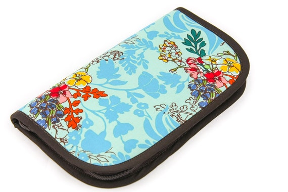 Travel or Super Size Zip Around Knitting Needle Case - Tangle Aqua - brown pockets
