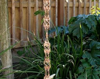5 ft Solid Copper Box Rain Chain  - Kusari Doi -  Feng Shui Zen Outdoor Garden Decor - Water Feature - Handcrafted Metalwork
