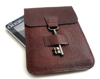 Leather iPad Mini Case - Leather iPad E-reader Sleeve - Mahogany Bison Leather Kindle Case with Antique Key Closure