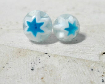 fused glass earrings - blue and white star earrings - millefiore glass post earrings - star earrings -  jewelry -  stud earrings - cowboys