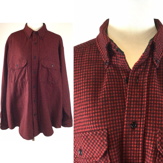 Vintage red plaid wool shirt red and black buffalo plaid by for Wool button down shirt