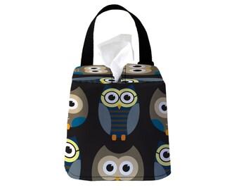 Auto Sneeze Box - Owls - Midnight - Car Accessory Automobile Caddy Tissue Case Box Cover Cozy Black Navy Blue