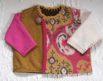 Tribal Baby Sweater . Baby Girl Sweater  . made from recycled sweaters . felted baby cardigan TAMIKA