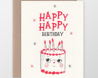 Happy Happy Birthday Cake Card