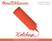 Ketchup Clip Art - Condiment Stock Art - Commercial Use