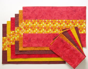 Placemats and Napkins Autumn Leaves Maroon Red Orange Yellow Set of 6