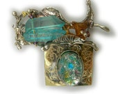 Aqua crystal and vintage harlequin opaline   Pin   in Sterling Silver and Married Metals   by Cathleen McLain McLainJewelry