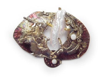 Stunning   Opal and wildpearl   Pin / Pendant  in Sterling Silver and Married Metals   by Cathleen McLain McLainJewelry