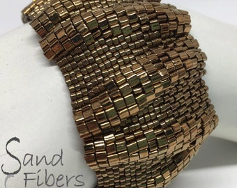 Large Bronze Ripples Peyote Cuff / Peyote Bracelet - A Sand Fibers Creation
