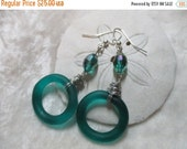 ON SALE Retro Teal Circles Earrings