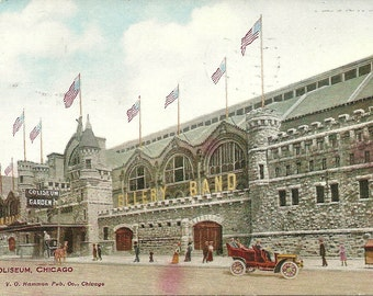 Vintage 1910s Postcard Chicago Illinois Coliseum Garden Building City Street View Old Car Divided Back Era Postmarked