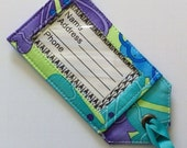 Green Blue Purple Sturdy Fabric Luggage Tag Bright and Easy to spot with a grosgrain ribbon tie