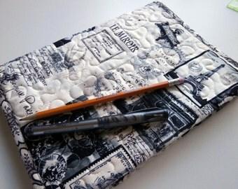 Paris Fabric Quilted Journal Cover, Black, Cream, Eiffel Tower, Arc De Triomphe, Bonjour Paris, Travel Diary, Logbook, Composition Cover