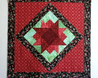 Quilted Wallhanging - Table Topper -  small quilt -  Black Red Green - Patchwork- Home Decor- Rose Fabric - May Roses -ready to ship