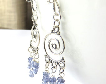 Iolite Chandelier Earrings, Blue and Silver Fashion Earrings, Unique Jewelry Gift for Her, Dainty Iolite Jewelry, Long Gemstone Earrings