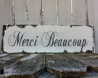 Vintage MERCI BEAUCOUP SIGN, Rustic Wedding SIgn, Thank You Sign in Any Language