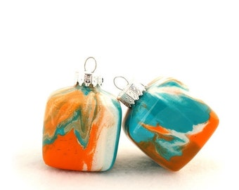 SALE Glass Christmas Square Ornament Painted Inside Turquoise and Orange Small Handmade Cube