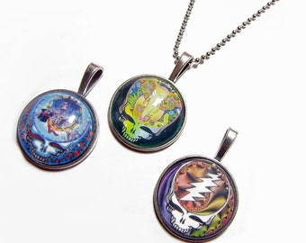 Lot of 3 - Grateful Dead Steal Your Face Pendants Group 2 -  1 Inch Circle Glass Photo Pendant with 24 inch Ball Chain Necklace