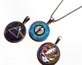 Lot of 3 - Dark Side of the Moon, BassNectar Eye, Grateful Dead Steal Your Face Pendants 1 Inch Photo Pendant with 24 inch Ball Necklace
