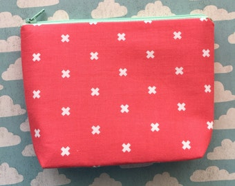 Coral cosmetics bag - small makeup bag - cross print pouch - coral pouch - coral zipper pouch