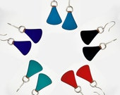 Enamel Earrings of Kiln Fired Copper on Sterling Silver Earwires Choose Your Color