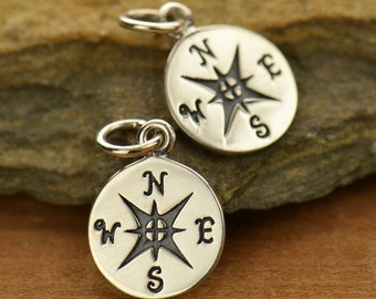 Sterling Silver Compass Charm - Pendant - Nautical - Direction - Find your Way - East West North South - DIY Jewelry Travel Charm