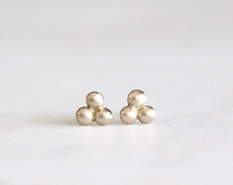 14k gold stud earrings, 3 bead earrings, handmade, eco friendly, recycled metals