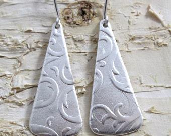 Damask Earrings, Sterling Silver Dangle Earrings, Etched Earrings, Long Earrings, Minimalist Jewelry