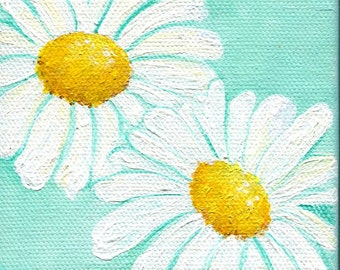 Shasta Daisies Acrylic Painting Aqua Original mini canvas art 4 x 4 white Shasta daisies original flowers art, acrylic painting canvas art