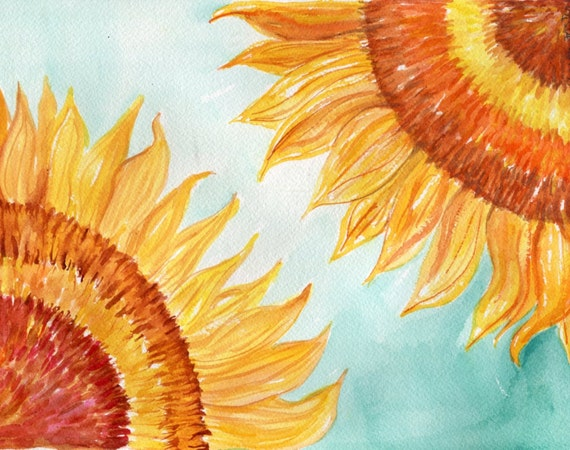Sunflowers Watercolor Painting Original 8 x 10 Flower Painting, Floral Wall Art, sunflowers on turquoise watercolors painting