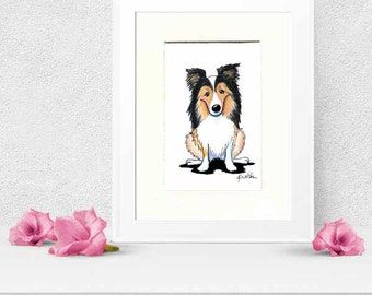 Matted Original Dog Art Sheltie Shetland Sheepdog