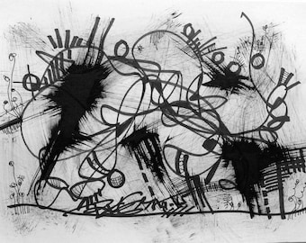 "Art Original Black Ink Painting Modern Abstract Home Wall Decor Drawing 8.3x11.7"" Blowing 1509 - RegiaArt"