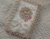 Elegant Tatted Journal Cover Removable With Quilting Fabric And Vintage Lace