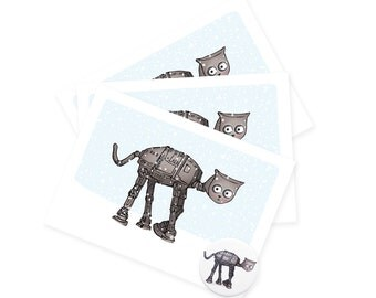 Cat-at Cat greetings cards / badges  -  animals greetings card birthday christmas card - blank no message