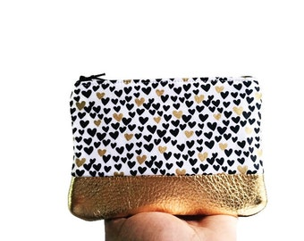 Hearts Gold Metallic Leather Coin Purse, Zipper Pouch, Change Purse, Small Leather Pouch, Gift for Her