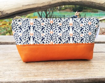 Cosmetic Bag, Leather Toiletry Bag for Women, Small Makeup Bag, Leather Zipper Pouch, Travel Cosmetic Bag, Beauty Bag, Leather Pouch