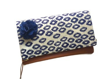Navy Blue Wood Block Fold Over Leather Clutch Purse, Light Brown Leather Clutch Bag, Blue Evening Clutch Handbag, 144 Collection