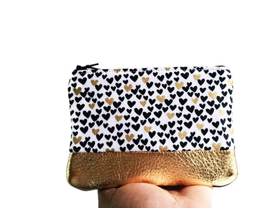 Hearts Gold Metallic Leather Coin Purse, Zipper Pouch, Change Purse, Small Change Wallet, Gift for Her