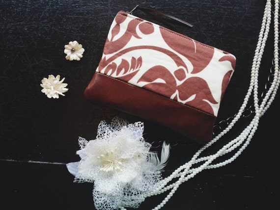 Tapestry Coin Purse, Leather Pouch, Leather Zipper Pouch for Women, Small Purse, Brown Change Wallet, Change Purse Wallet