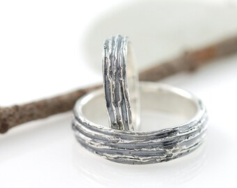 Tree Bark Wedding Rings - Palladium Sterling Silver Wedding Band Set - 4mm and 6mm - made to order wedding rings in recycled metal