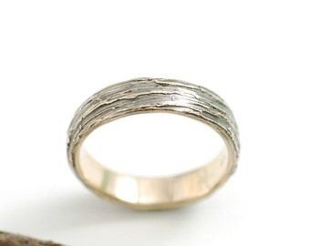 Tree Bark Wedding Rings - 14k Yellow Gold Bark Texture Wedding Band - 6mm - made to order ring in recycled metal
