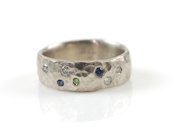 Love Rocks with scattered diamonds and sapphires - sz 6.25 - palladium/silver alloy - ready to ship