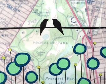 Prospect Park / 5 x 5 Map Painting / New York Art / Map Art / Modern Decor / Brooklyn / Wedding Gift / Bird Art / Birds on Wire