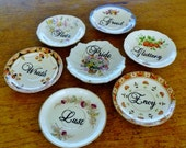 Seven Deadly Sins hand painted vintage china saucer plate art assemblage with hangers recycled sinful decor display