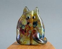 Handmade Lampwork Focal Cat Bead by teribeads - Hobart FatCat