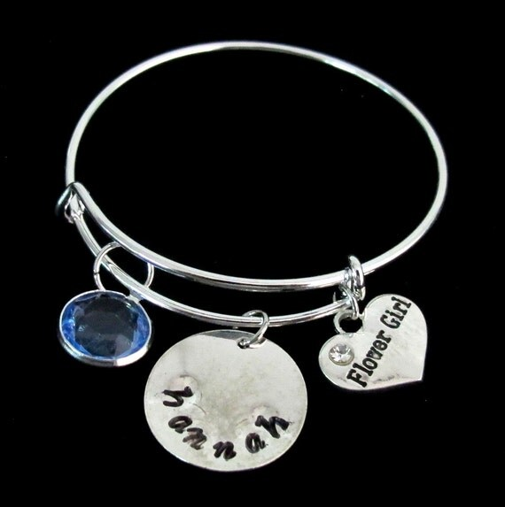 Child Bangle, Child Bracelet, Child Inspired Bangle-Expandable Bracelet Birthstone Bangle Bracelet- Name Bangle-Baby- Girl Free Shipping USA
