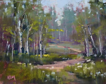 Birch Trees in Finland FOREST woods Landscape Original Pastel Painting